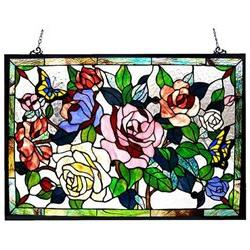 Floral Design Glass Bronze Window Panel