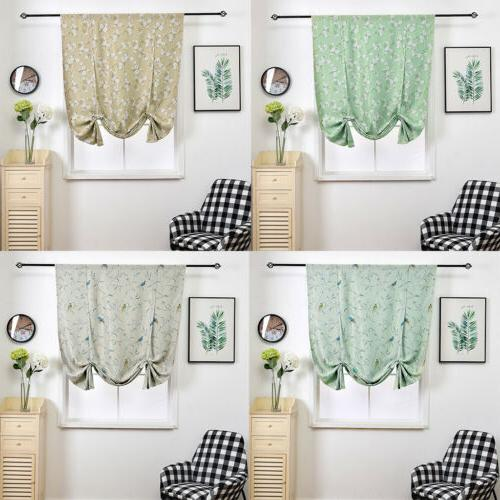 floral printed tie up valance blackout curtain