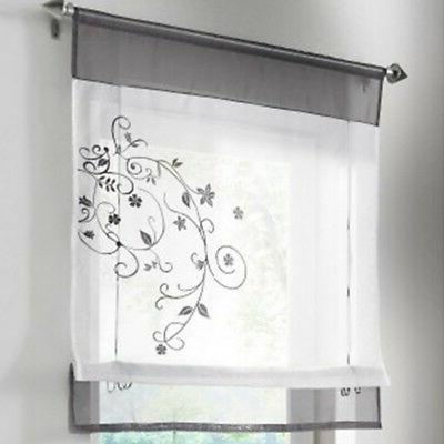 Floral Voile Dressing Curtain Kitchen Panel Roman