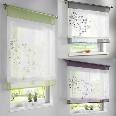 floral voile sheer wiindow dressing curtain kitchen