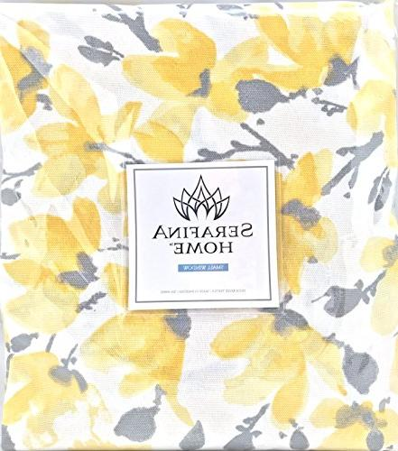 Floral Yellow Grey Kitchen Curtains: Valance Two Pocket
