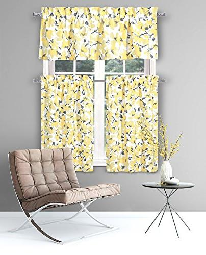 Floral Curtains: One Valance and Two Pocket