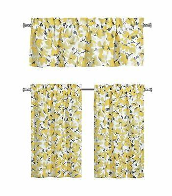 floral yellow grey kitchen curtains