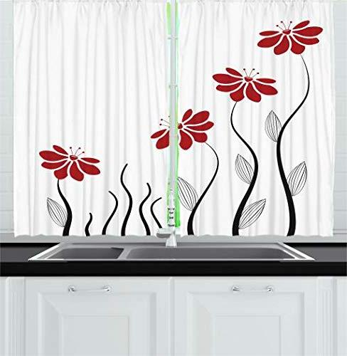 Curtains, Petals Striped Leaves Modern Geometric Design Window Drapes Set for Cafe, 55 W X L Inches, Black
