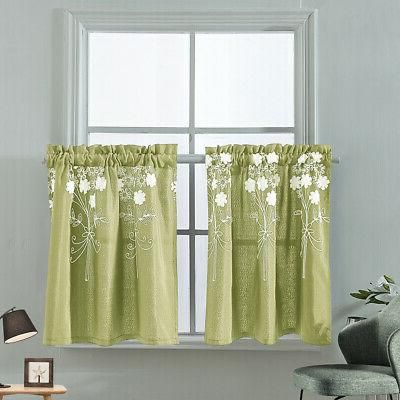 Embroidery Kitchen Cafe Curtains Bathroom Window