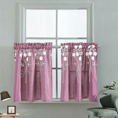 Embroidery Cafe Curtains Bedroom Window Decor