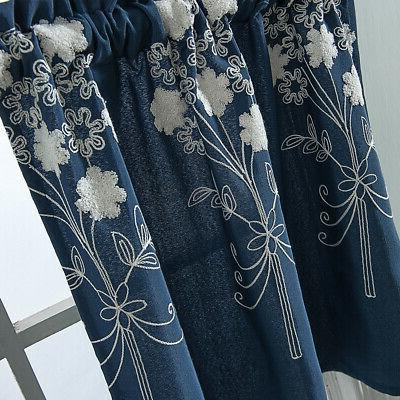 Embroidery Short Curtain Cafe Curtains Bedroom Bathroom Window
