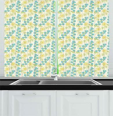 flower kitchen curtains 2 panel set home