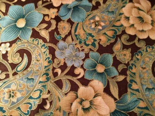 Floral and Paisley Brown Gold Etching Window Curtain Valance