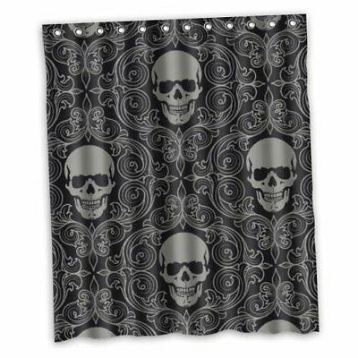 fmshpon four black skull with lacy pattern