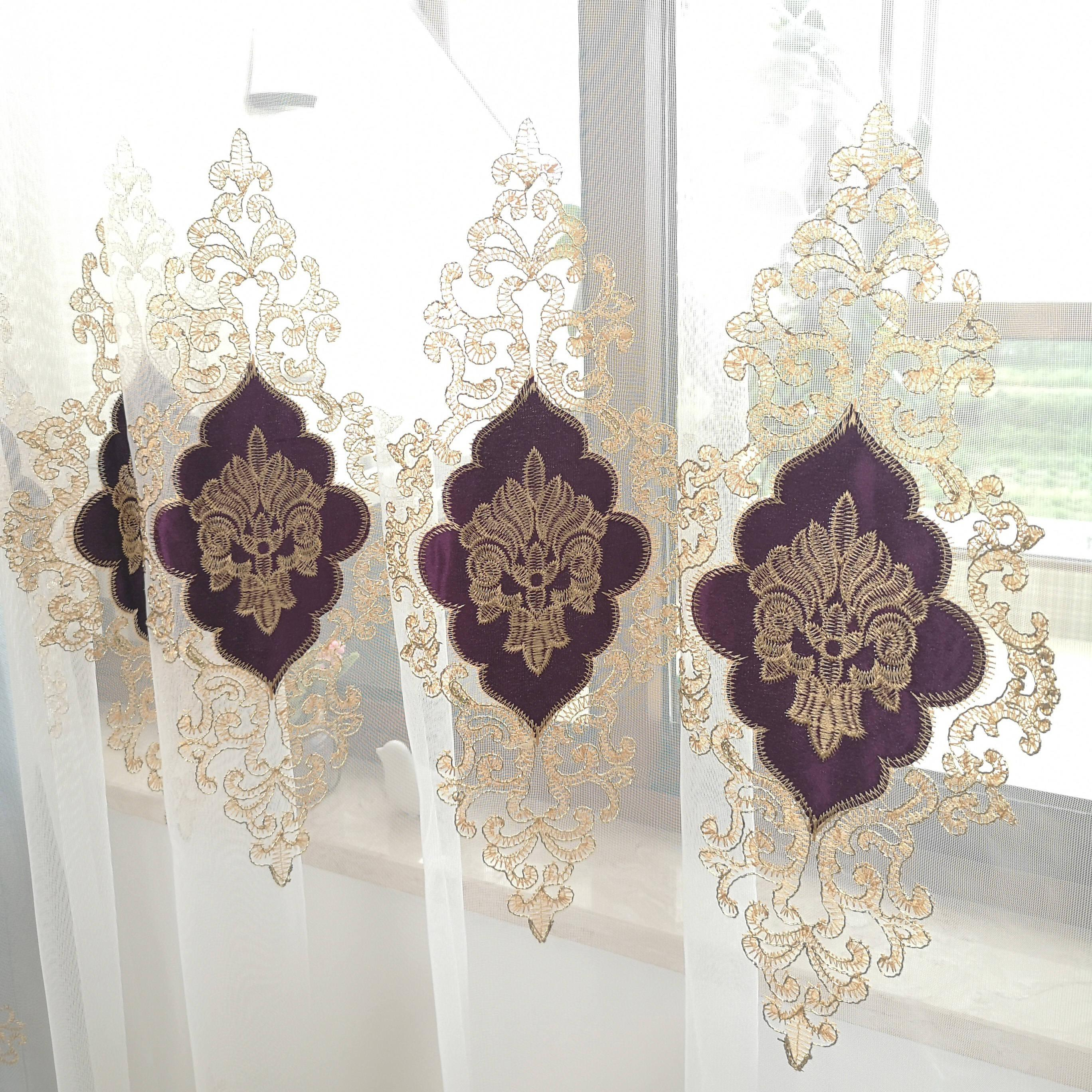 Slow <font><b>Gold</b></font> Purple Europe Embroidered Tulle Room Luxury