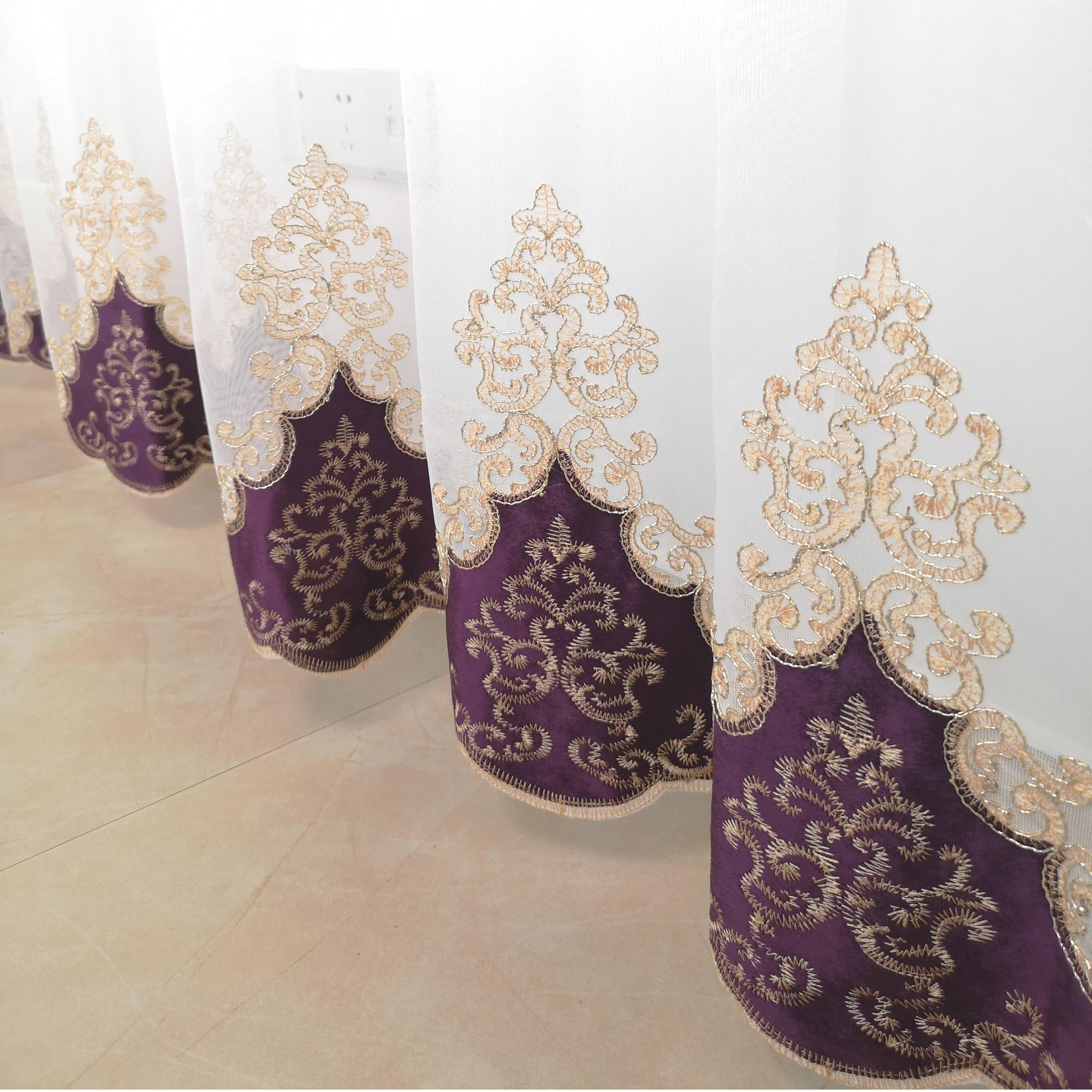 Slow <font><b>Gold</b></font> Purple Blue Embroidered Tulle <font><b>Curtains</b></font> For Room