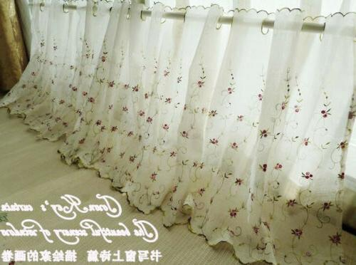 French Country Floral embroidered Net Curtain Tier