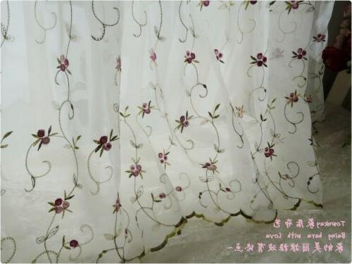 French Country embroidered Net Curtain Tier