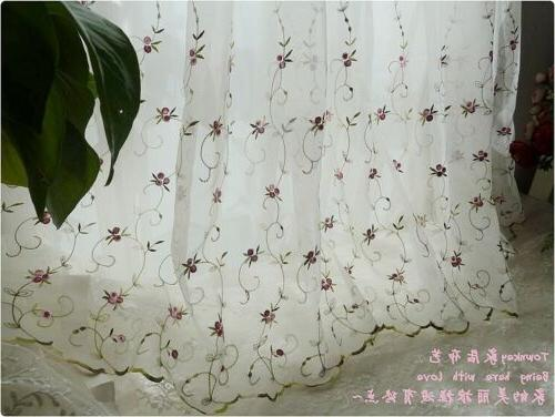 French Country Floral embroidered Net Tulle Curtain
