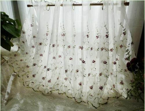 french country floral embroidered net tulle kitchen