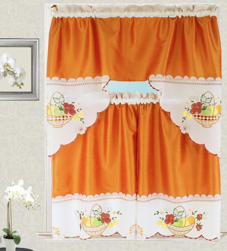 Fruit Basket Kitchen Curtain with Swag and Tier Set 36 in Orange