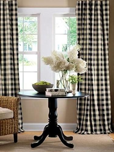 gingham checkered polyester curtain window