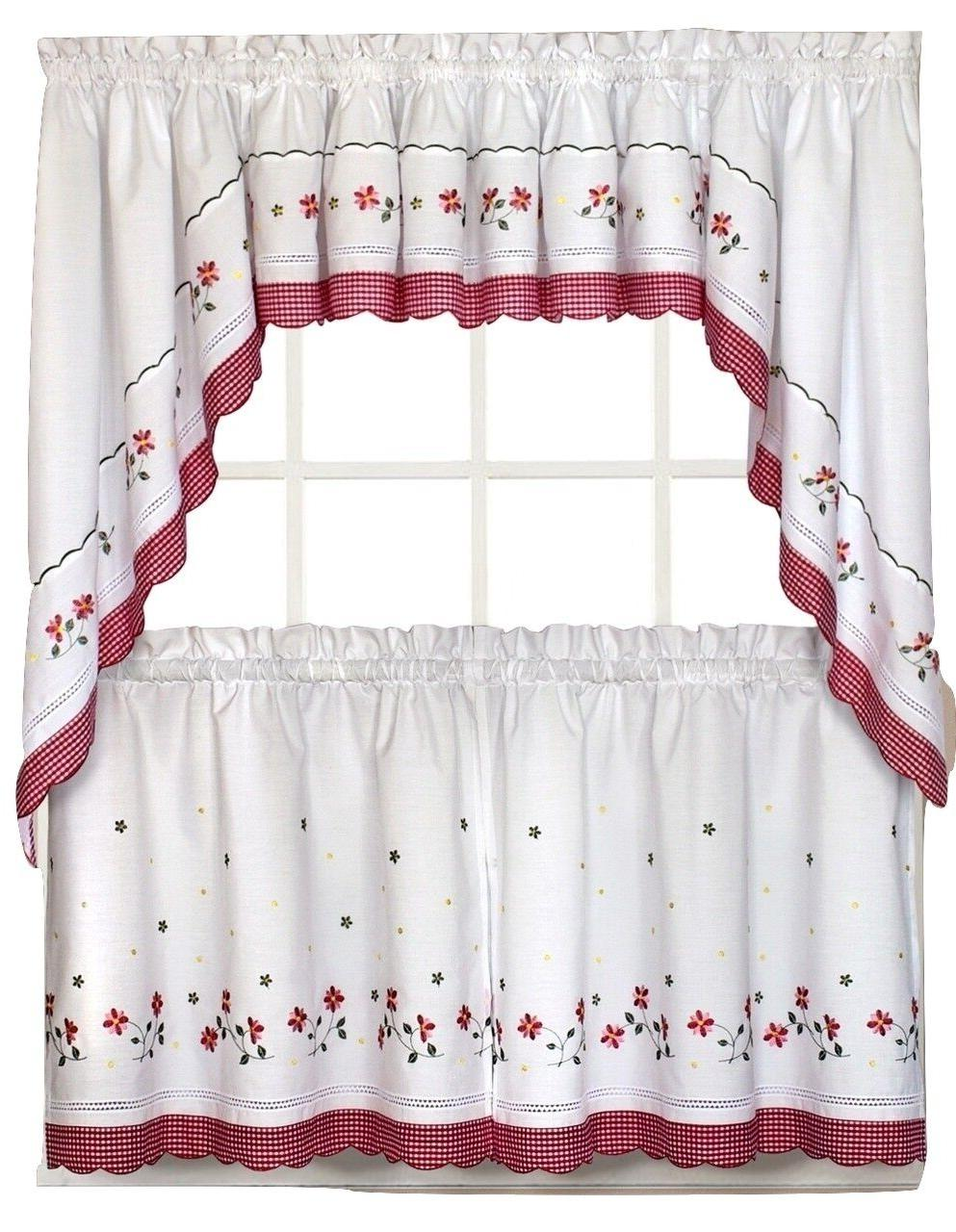 gingham floral kitchen curtain collection red new