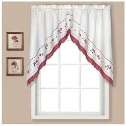 Gingham Swag Curtain Valance, Red
