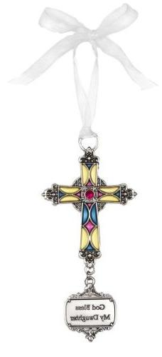 Ganz God Bless My Daughter Stained Glass Cross Ornament Size