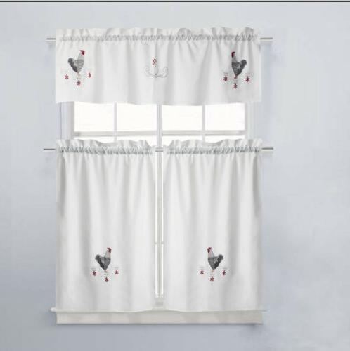 good morning embroidered kitchen curtain and valance