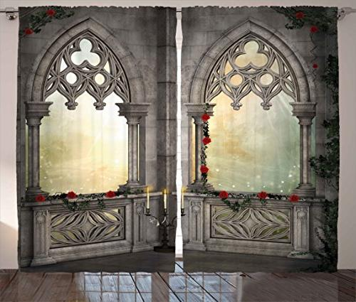 gothic decor curtains flowers ivy