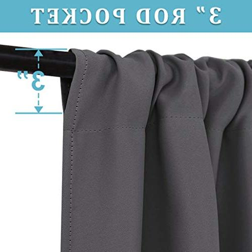 RYB HOME Curtains Insulated Noise Reducing Rod Pocket Draperies Treatments Decoration Bedroom