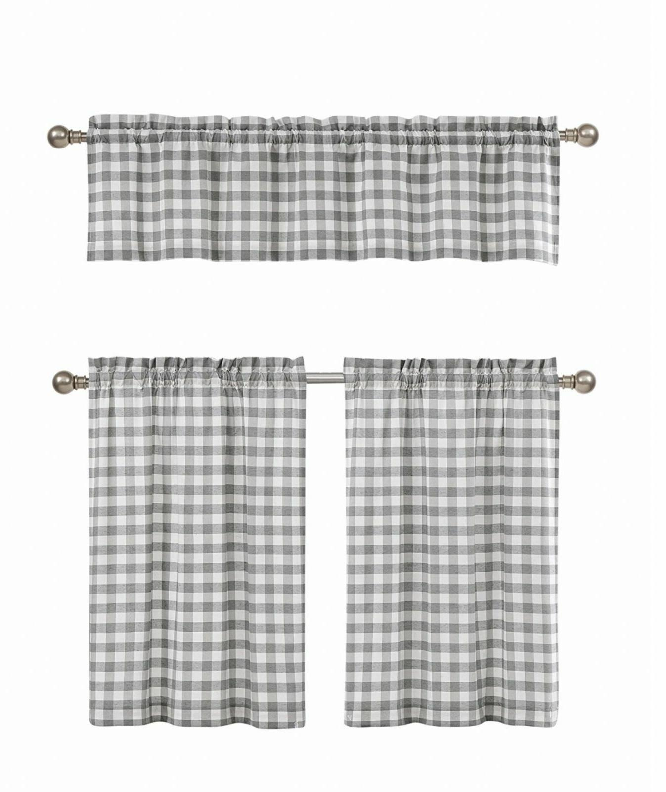 Gray & White Cotton Blend Gingham Tartan Country Plaid Kitch