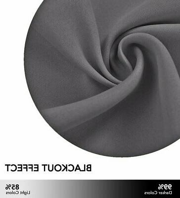 Grey Blackout Curtain for Bedroom Thermal Grommet