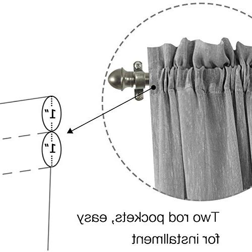 H.VERSAILTEX Grey Curtains French Blended Curtain Panels - Light Solid Pocket Semi Glass Door - - Set of
