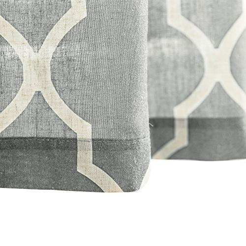 Grey Moroccan Tile Tier Curtains for Lattice Curtains inches Short Window Bathroom Pair