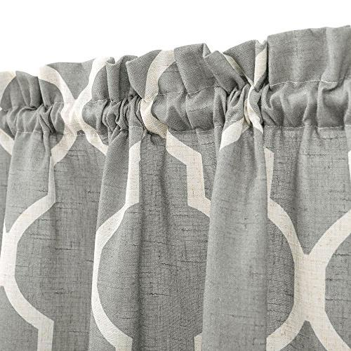 Grey Moroccan Tile Tier Curtains Lattice inches Long Kitchen Window
