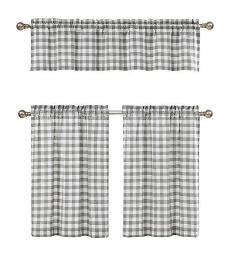 Grey White Kitchen Curtains Checkered Plaid Gingham Design
