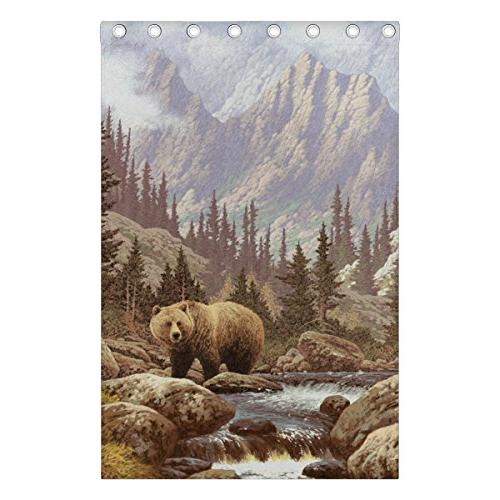 ALIREA Bear In The Rockies Blackout Curtains Darkening Grommet Curtain for Panel