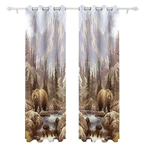 ALIREA Grizzly Bear The Curtains Darkening Grommet for Panel