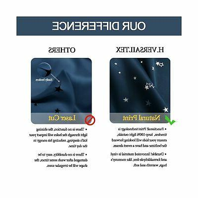 H.VERSAILTEX 100% Thermal Insulated Navy Stars Kids Room Cur...