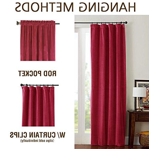 jinchan Half Blackout Curtains Red for Thermal Window Room