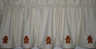 hand painted gingerbread muslin valance 60 w