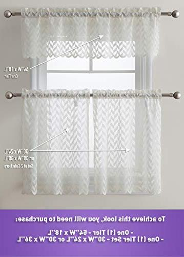 """HLC.ME Semi Sheer Voile Cafe Curtain Panels - Rod - & Valances for Small & Wide 36"""" Length"""