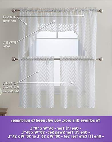 """HLC.ME Herringbone Semi Voile Kitchen Cafe Panels - - Swags Valances for Small Windows & Bathroom 30"""" Wide Length"""