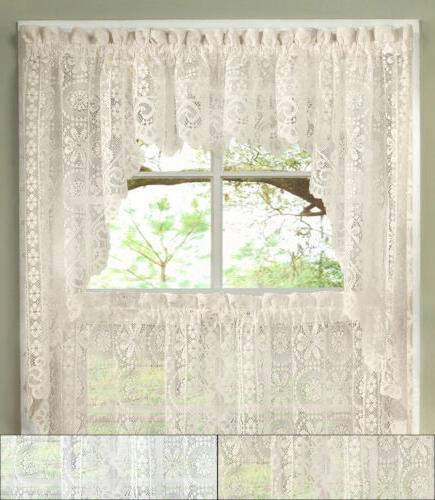 hopewell heavy floral lace kitchen window curtain