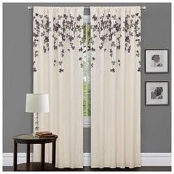 Ivory/ Purple Faux Silk 84-inch Flower Drop Curtain Panel