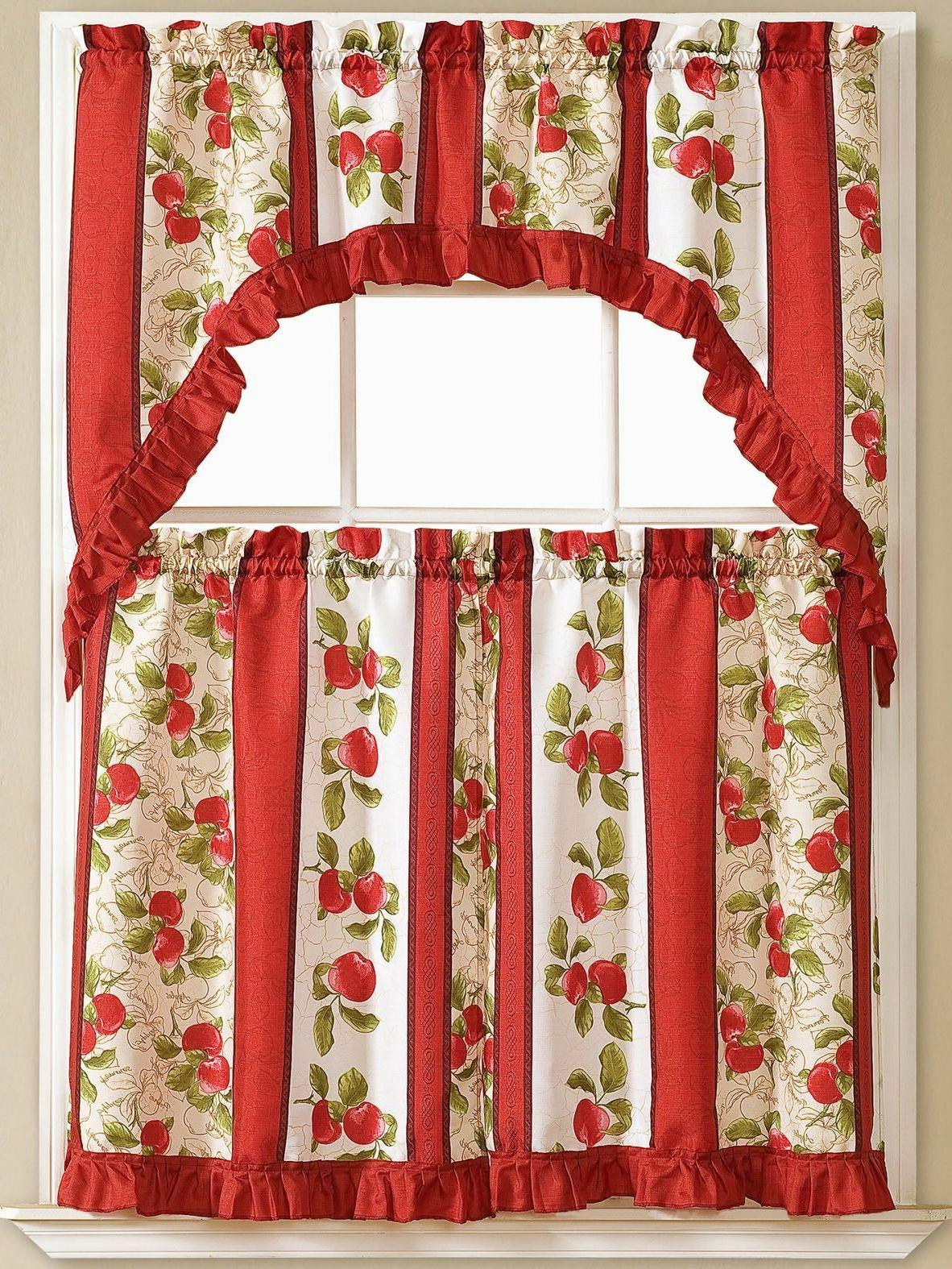 Kitchen Curtains 3 Pc. Set with Valance Tier Swag Red