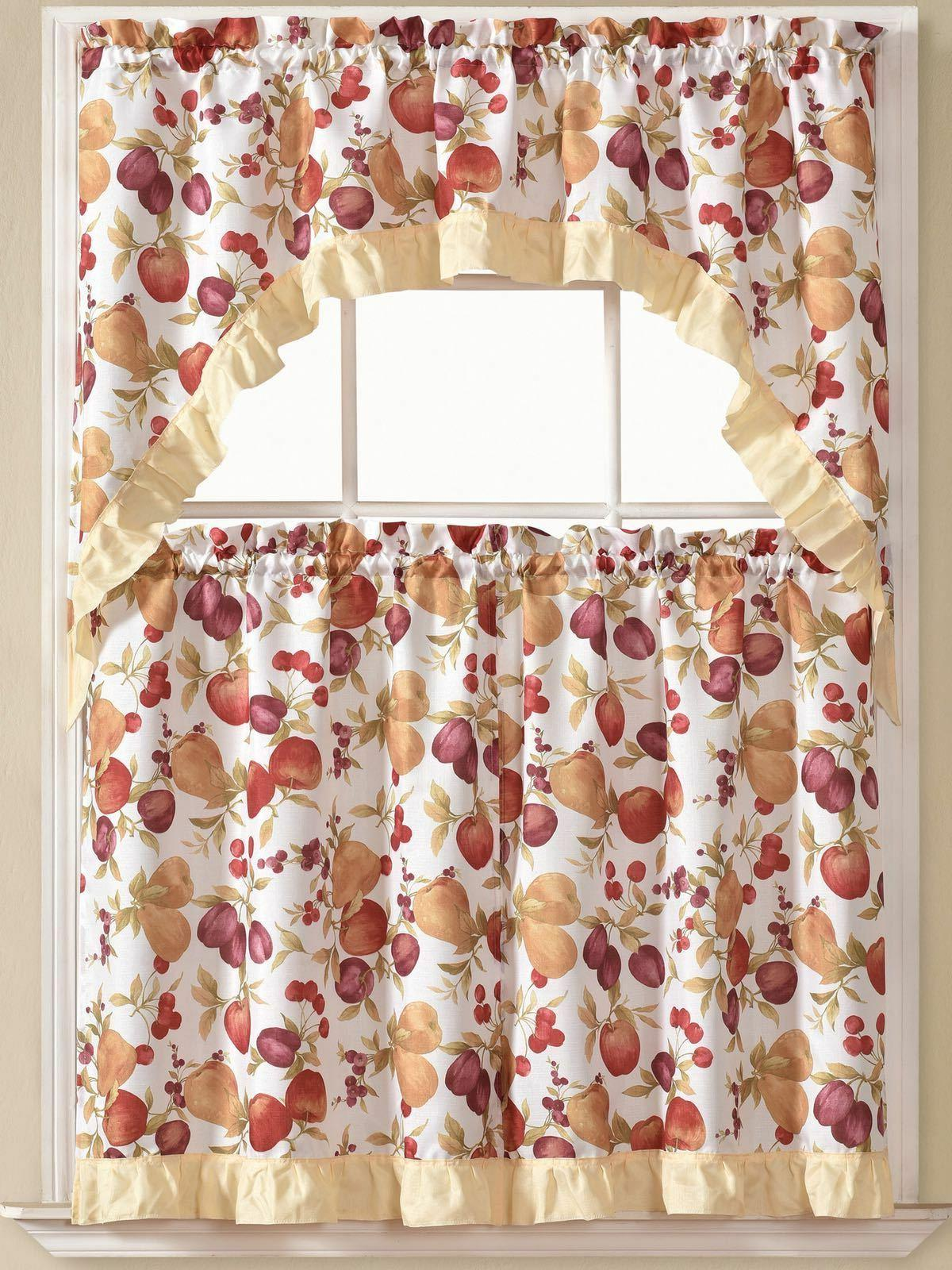 Kitchen Curtains Tier and Red
