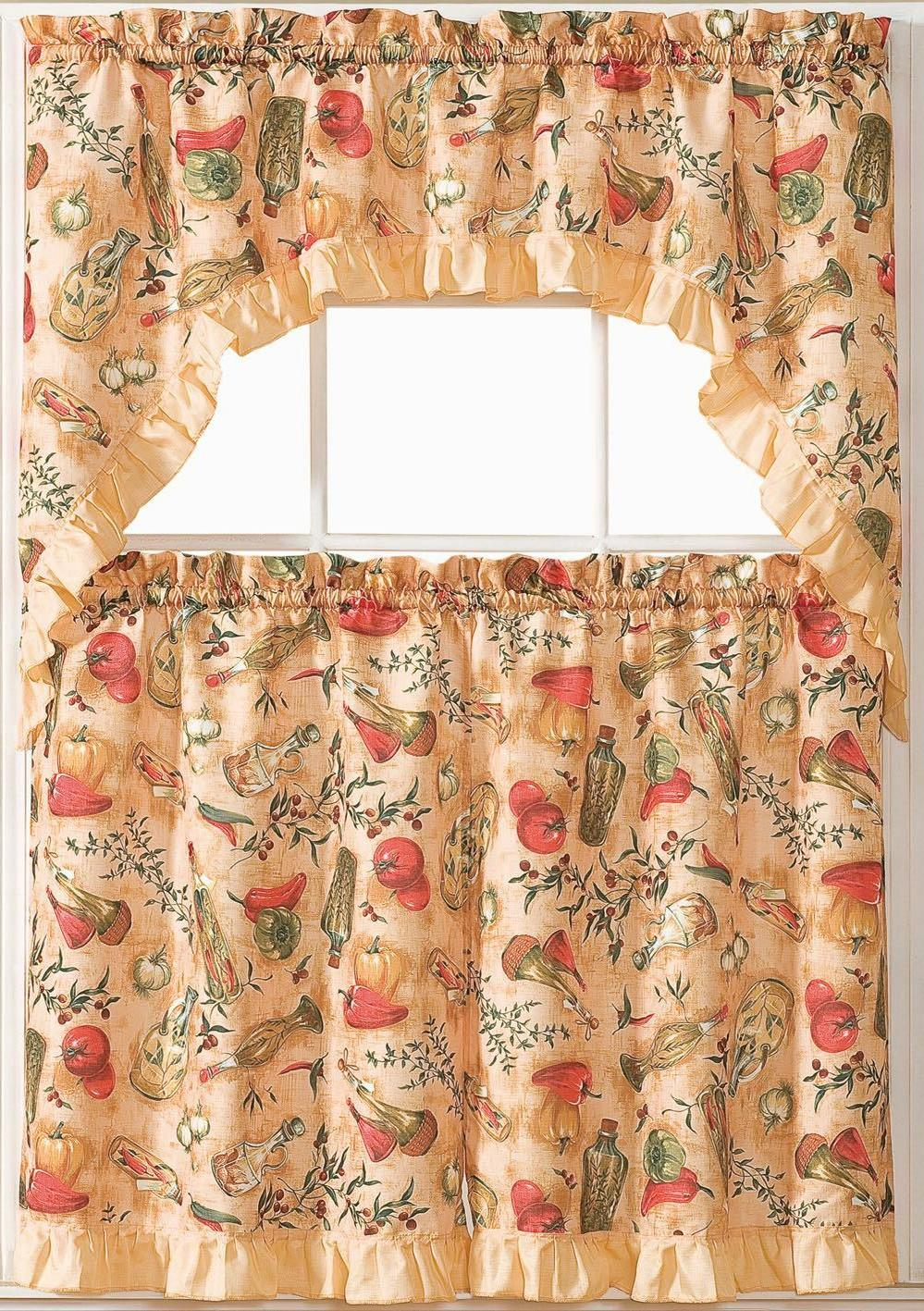 Kitchen 3 Pc. Set with Valance Tier Red