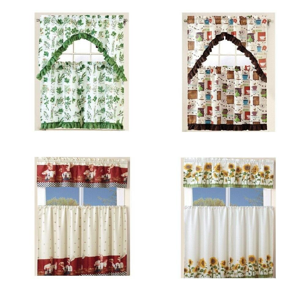 kitchen curtain linen set with 2 tiers