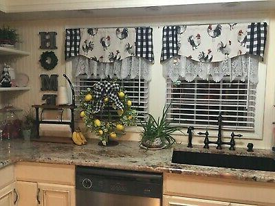 KITCHEN VALANCE~Floral~Red~Black~Gray~Grey~White~Topper~Window Valence