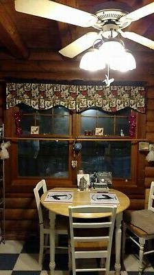 KITCHEN CURTAIN VALANCE~Floral~Red~Black~Gray~Grey~White~Topper~Window