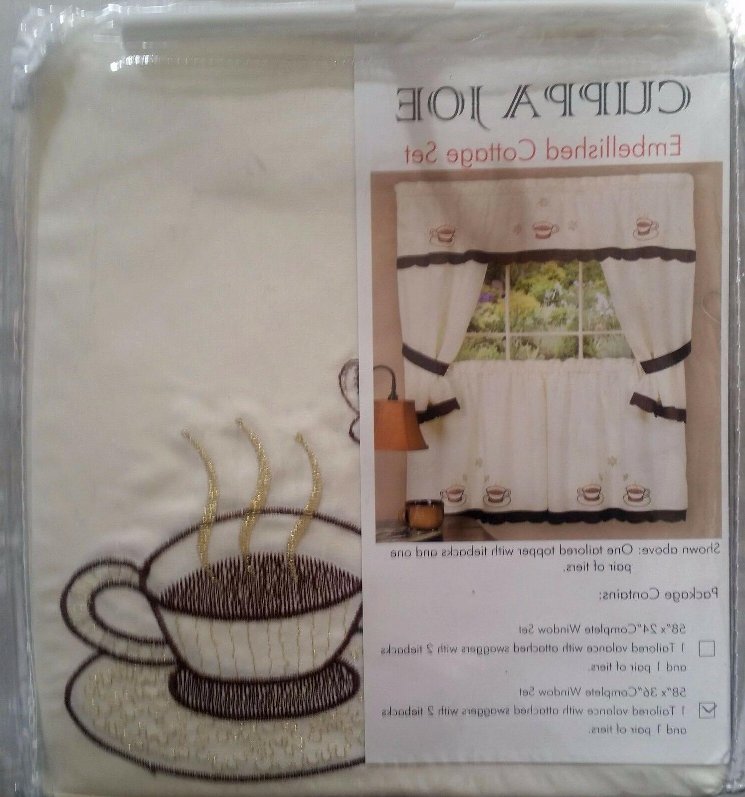 Kitchen Curtains Embellished Cottage Set, CUPPA by